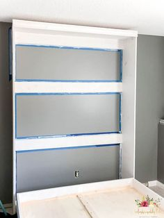 Build your own queen size murphy bed for any room in your home. It's a great space saver! Detailed tutorial and measurements! #DIY #murphybed #queensizemurphybed #Sherwin-Williams #zurich-white