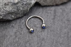 Horseshoe Barbell in Dark Blue Crystals