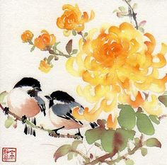 Jinghua Gao Dalia - Brush Magic- Over 3 decades of Chinese watercolor brush painting experience Japanese Painting, Chinese Painting, Japanese Art, Watercolor And Ink, Watercolor Illustration, Watercolor Flowers, Ink Painting, Watercolor Paintings, Chinese Flowers