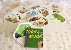 The invitations are plain card stock covered with vintage paperback books. With enveloped lined from the same book.