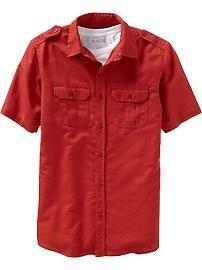 Men's Short-Sleeve Linen-Blend Shirts
