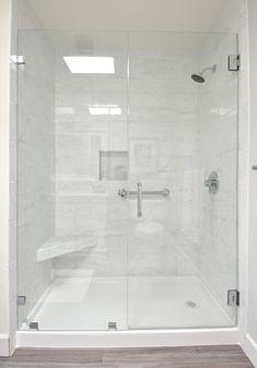walk in shower marble tile