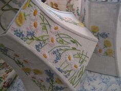 Image result for lampshade using old embroidered tablecloth
