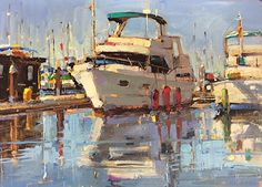 Ready for the Weekend by Michele Usibelli Oil ~ 9 x 12 Boat Painting, Gouache Painting, Azimut Yachts, Boat Companies, Oil Painting Gallery, Yacht Builders, Boat Art, Yacht Boat, Fishing Boats