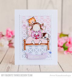 Handmade card from Anna Kossakovskaya featuring Pure Innocence Bed Rest stamp set and Die-namics #mftstamps