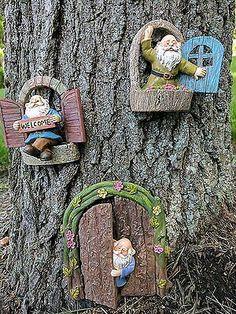 Gianna's Home Welcome Window Garden Gnome Door Fairy Garden Tree Stump Set Fairy Tree Houses, Fairy Garden Houses, Gnome Garden, Garden Trees, Gnome Tree Stump House, Gnome House, Fairy Garden Doors, Mini Fairy Garden, Fairy Doors On Trees