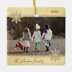 PHOTO Gold Snow Keepsake Christmas Holiday Tree Ceramic Ornament - tap/click to personalize and buy #CeramicOrnament #ad #christmas #holiday #tree #ornament