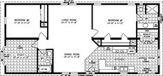 Jacobsen Homes offers a wide variety of two bedroom mobile home floor plans, each designed with quality and comfort in mind. 2 Bedroom Floor Plans, Mobile Home Floor Plans, House Floor Plans, Small Mobile Homes, 1500 Sq Ft House, Manufactured Homes Floor Plans, Bedroom Flooring, Room Doors, Cabin Plans