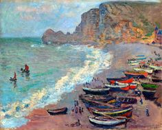 The Beach at Etretat  by Claude Monet