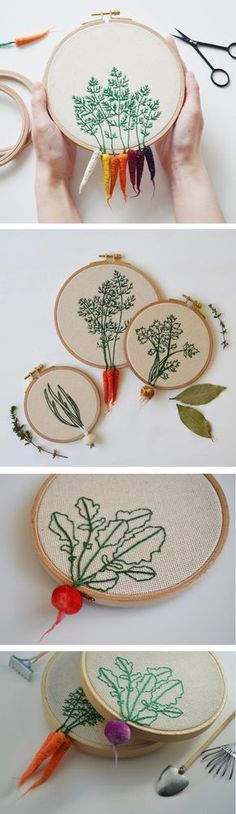 You know the saying think outside the box? Well,Little Herb Bouquet thinks outside the embroidery hoop with exquisite vegetable art.