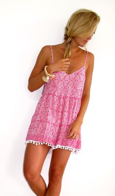 Pom Pom Jumpsuit / Playsuit, Short Beach Dress, Pink & White Print Skort Shorts