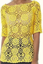 Short Sleeve Dresses, Dresses With Sleeves, Long Sleeve, Ideias Fashion, Crochet, Crochet Batwing Tops, Yellow Blouse, Summer Blouses, Tejidos