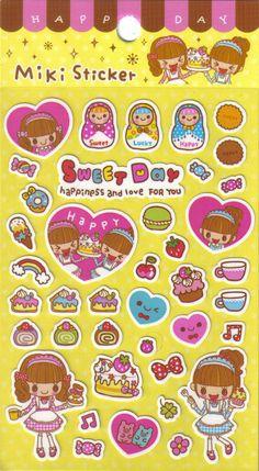 Miki Good Friends Sticker Sheet B. $1.00, via Etsy.