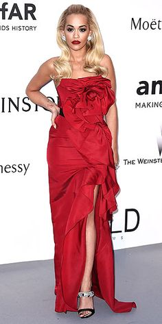Kendall! Sienna! Karlie! Every Jaw-Dropping Look at amfAR | RITA ORA | The star wears a dress with one of her favorite designers (Marchesa) in one of her favorite colors (red) with some of her favorite accessories (sparkles, down to her Giuseppe Zanotti shoes).