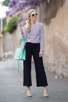 Dreamy Stripes: navy striped boatneck tee, navy wide leg culottes, gray lace-up suede pumps, Brahmin mint handbag, striped tee and culottes outfit, how to wear cropped wide leg pants
