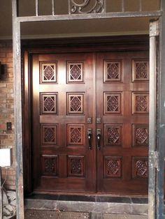 After restoration... Main Entrance Door Design, Wooden Front Door Design, Double Door Design, Modern Front Door, Double Front Doors, Wood Front Doors, Exterior Front Doors, Entrance Doors, Wooden Doors