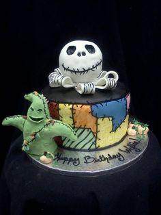 Nightmare Before Christmas Cake. For Kristin Halloween Cakes, Disney Halloween, Halloween Treats, Christmas Wedding Cakes, Christmas Cake Decorations, Christmas Baby, Cupcakes, Cupcake Cookies, Jack Skellington Cake