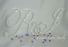 """""""R"""" Couple Monogram Cake Topper, with a touch of purple and clear diamond confetti! Fun & Sparkly!!"""