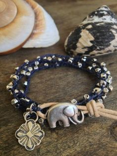 "Good Luck Elephant Leather Wrap Bracelet ""Boho Chic"""