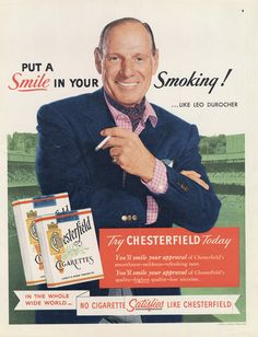 1955 Chesterfield Cigarettes Ad Leo Durocher by AdVintageCom