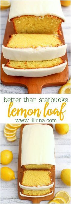 than Starbucks Lemon Loaf Dessert Bread Recipe via lil' luna - If you like Starbucks Lemon Loaf, then you'll love this moist, delicious Lemon cake! This easy to make recipe, is loaded with delicious lemon flavor, and topped with an amazing lemon frosting. Low Carb Dessert, Dessert Bread, Dessert Food, Starbucks Lemon Loaf, Lemon Cake Recipe Starbucks, Iced Lemon Cake Recipe, Starbucks Food, Starbucks Recipes, Starbucks Coffee