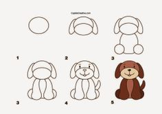 kerajinan anak TK/SD, langkah/cara menggambar anjing & mewarnai