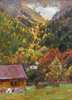 Autumn colors Artist Painting, Oil On Canvas, Paint Colors, Saatchi Art, Original Paintings, Autumn, Mountain Landscape, Impressionism, Creative