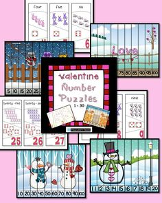 Valentine Number Puzzles will help your students practice number order, counting, and numeral recognition for numbers 1-30. A second set of number puzzles feature winter Valentine scenes:  counting by ones to 30, by twos, fives to 100, and tens to 100.  $
