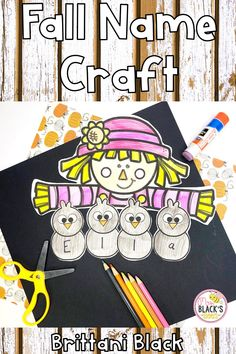 Are you looking for a way for your students to practice his or her first name?  Do you need name practice crafts or activities?  You will love this scarecrow themed lesson that is perfect for fall.  Students will enjoy coloring, cutting and gluing a scarecrow boy or girl.  This lesson is fun for students in PreK, Preschool, Kindergarten or First grades.  The craft makes an adorable display for hallways, bulletin boards and classroom doors. Name Crafts, Crafts To Make, Classroom Themes, Classroom Resources, Name Practice, Scarecrow Crafts, Black Bee, Preschool Kindergarten, Autumn Theme