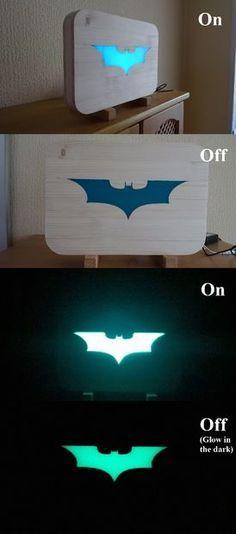 22 DIY Craft Lights Ideas You Can Create: Picture of Glow in the dark Batman Light Cool Woodworking Projects, Wood Projects, Projects To Try, Batman Light, Batman Room, The Darkest, Diy And Crafts, Glow, Geek Stuff
