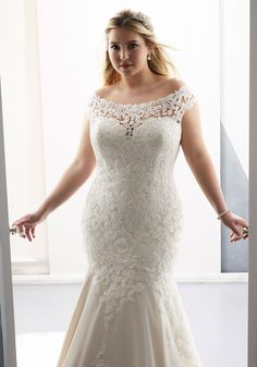 A Romantic Fit & Flare Silhouette - Bridal and Formal Plus Size Wedding Gowns, Plus Size Gowns, Bridal Wedding Dresses, Wedding Dress Styles, Designer Wedding Dresses, Lace Wedding, Dream Wedding, Ariel Dress, Curvy Bride