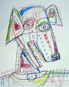original HUGHART abstract outsider funky dog puppy pet folk art - GET THE BALL! #OutsiderArt