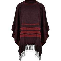 Red stripe tassel poncho cape - capes - jumpers / cardigans - men