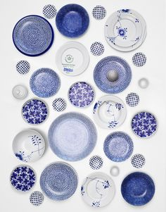 Henrik Bonnevier blue, patterned plates PS, I see you, Royal Copenhagen crown…