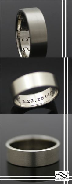 This handsome ring makes an excellent wedding band or remembrance ring. The outside of the band is finished with a smooth satin finish, which the inside is lightly rounded and has a polished finish.The inside of the ring has deeply engraved puzzle pieces, which go all the way around the ring. Ring can be personalized with a date, name, or initials.