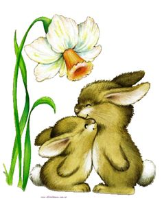 Ruth Morehead - 2 bunnies under flower :) Bunny Art, Cute Bunny, Cute Drawings, Animal Drawings, Easter Bunny Pictures, Rabbit Art, Easter Art, Tatty Teddy, Illustrations