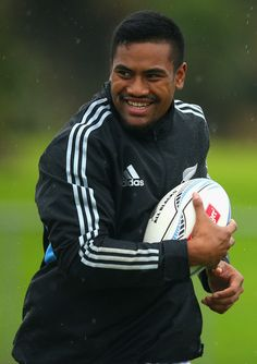 Julian Savea of the All Blacks runs with the ball during a New Zealand All Blacks training session at Trusts Stadium on June 4, 2013 in Auckland, New Zealand.