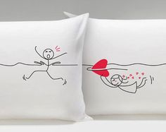 Love always finds a way, and your true love will always find you, as shown by this pillowcase pair. They're perfect for cozy snuggles with the one you caught—or the one who caught you! Boyfriend Anniversary Gifts, Boyfriend Gifts, Funny Boyfriend, Couple Pillowcase, Valentines Gifts For Him, Gifts For Husband, Couple Gifts, True Love, Crochet