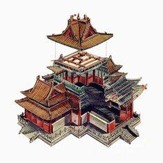 這位台灣人用剖視圖畫的中國古建築,美得讓人驚艷! (謝謝網友,Jing-xin Yen,Philip Ling,沙立宏,東野叟的指正,這位台灣作者是李乾郎,而不是李干郎*_*)他是台灣的李乾郎,40年來,一直致力於中國的古建..., 中國古建築