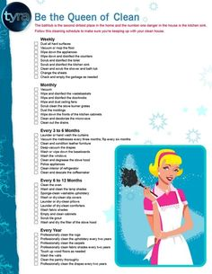 Be the queen of clean: cleaning schedule