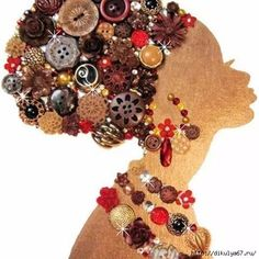 I love this for a button art piece Button Art, Button Crafts, Jewelry Crafts, Jewelry Art, Vintage Jewelry, Art Texture, African Quilts, Diy And Crafts, Arts And Crafts