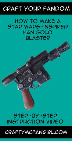 This Han Solo Blaster makes a great cosplay prop for your Han Solo Costume. This Star Wars DIY craft is perfect for your favorite scoundrel. Step-by-step instruction video from GeekyMcFangirl on YouTu Han Solo Cosplay, Star Wars Han Solo, Star Trek, Blaster Star Wars, Han Solo Blaster, Comic Con Costumes, Han Solo Halloween Costume, Nerd Costumes, Star Wars