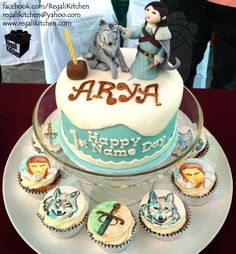 Game of Thrones-themed cake for birthday girl Arya, featuring her namesake from the books and TV series
