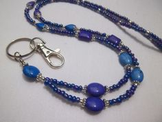 Beautiful Blue & Purple Beaded Lanyard / ID by TheCraftRoomStore, $18.99