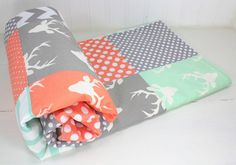 Baby Blanket, Nursery Decor, Minky Blanket, Woodland Nursery, Mint Green, Peach, Gray, Grey, Mint, Deer, Buck, Tribal, Triangles, Unisex