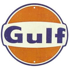 """Accent décor with this vintage Gulf Oil Embossed Tin Sign. Made to hang on the wall, the tin sign measures approximately 12"""" in diameter."""