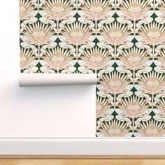 Rose King Protea Art Deco (forest green) - Spoonflower Stick On Wallpaper, Perfect Wallpaper, Custom Wallpaper, Protea Art, Attic Master Bedroom, Art Nouveau, Art Deco, King Protea, Prepasted Wallpaper