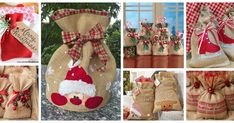 Haz hermosas bolsitas de yute para esta navidad Christmas Stockings, Christmas Crafts, Christmas Decorations, Xmas, Holiday Decor, Things To Do, Diy Crafts, Roxy, Ideas Party