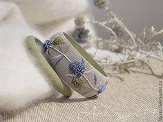 """Купить Комплект браслетов """"Синеголовник"""" из полимерной глины - браслеты александровой, широкий браслет, сплошной браслет"""