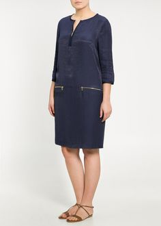 Violeta by Mango New Curve Plus Size Collection Elegant Navy Blue Dress with Details